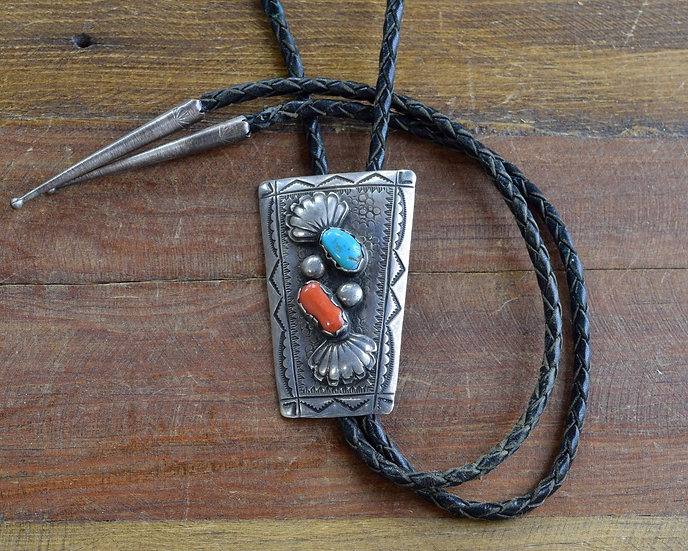 Navajo Sterling Silver Coral and Turquoise Bolo Tie