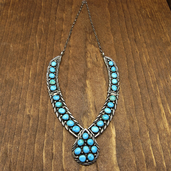 Gorgeous Vintage Navajo Sterling Silver Turquoise Necklace By Jimmy Yazzie