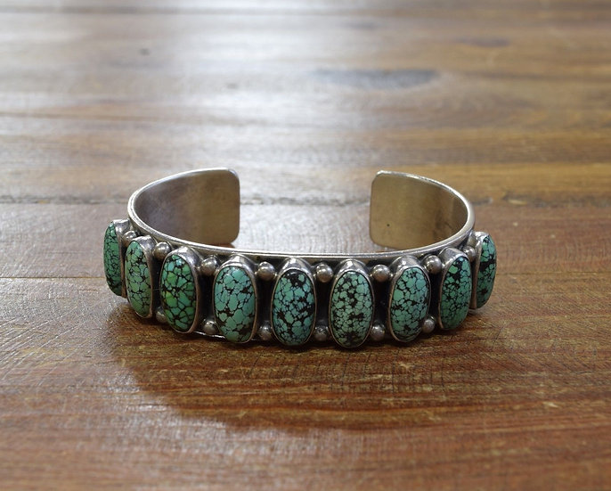 Vintage Navajo Sterling Silver And Turquoise Cuff Bracelet by Andy Cadman
