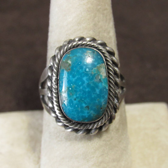 Brushed and Oxidized Sterling Silver and Turquoise Ladies Ring Size 8.75
