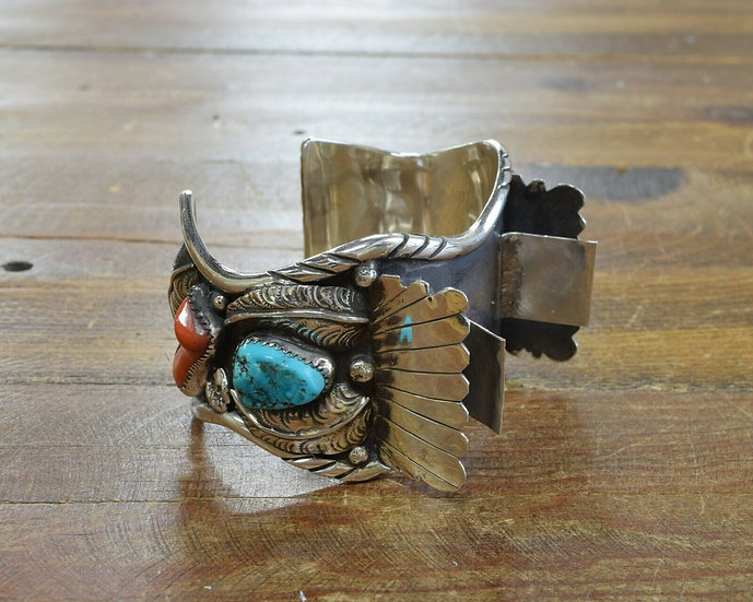 Vintage Navajo Turquoise and Coral Watch Cuff