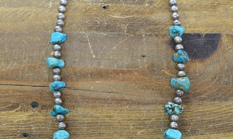Vintage Sterling Silver and Turquoise Bead Necklace