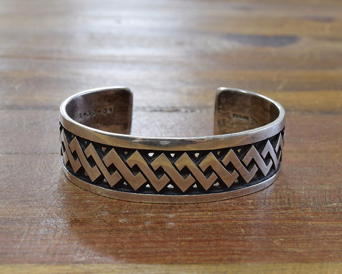 Vintage Sterling Silver Hopi Ferron Joseyesva Cuff Bracelet