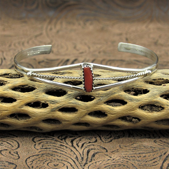 Simple Sterling Silver And Coral Cuff Bracelet