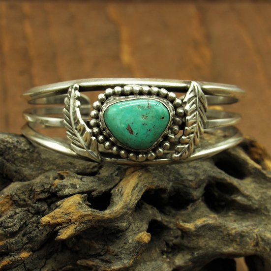 Sterling Silver and Green Turquoise Southwest Cuff Bracelet