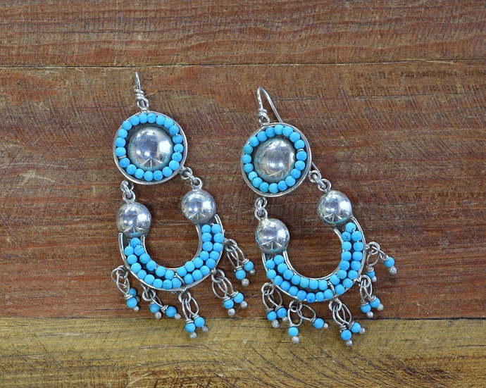 Vintage Southwestern Sterling Silver And Turquoise Chandelier Earrings