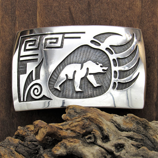 Hopi Sterling Silver Overlay Bear Paw Belt Buckle by Lawrence Saufkie