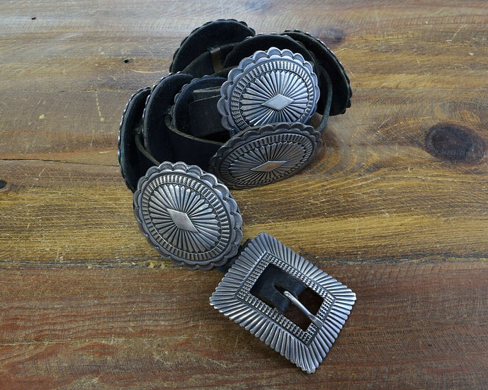 Vintage Navajo Sterling Silver Stamped Concho Belt by Sunshine Reeves