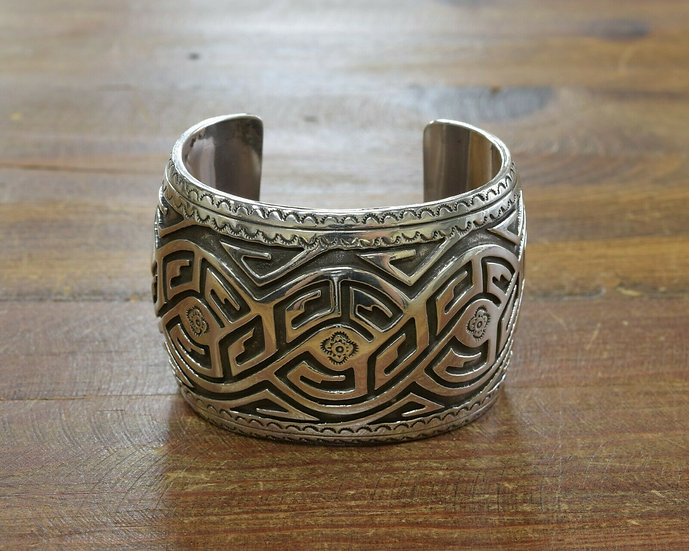 Vintage Southwestern Sterling Silver Overlay Cuff Bracelet
