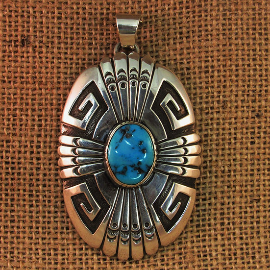 Navajo Turquoise Sterling Silver Pendant