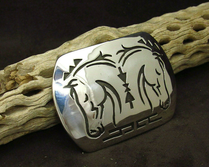 Navajo Sterling Silver Overlay Horse Buckle by Rosco Scott