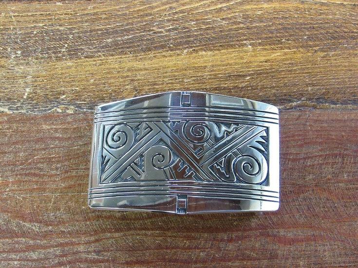 Vintage Southwestern Sterling Silver Overlay Belt Buckle