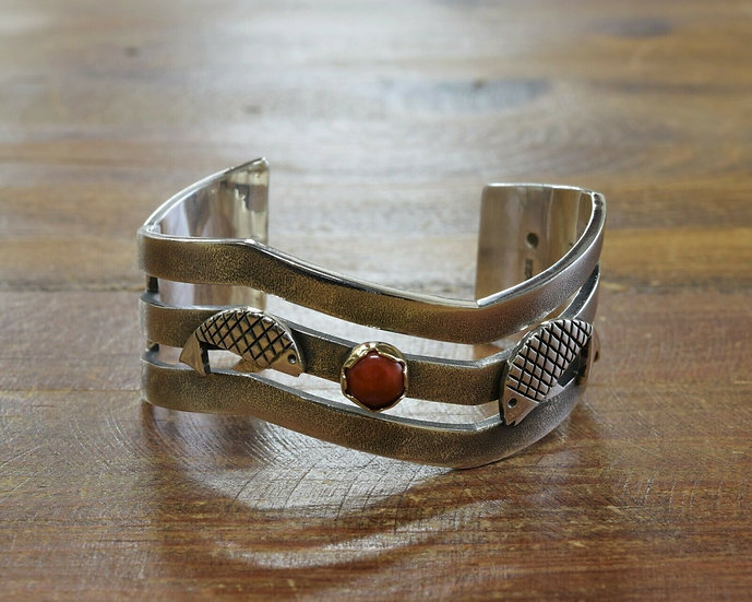 Navajo Sterling Silver and 14K Gold Red Coral Fish Bracelet by Kee Yazzie