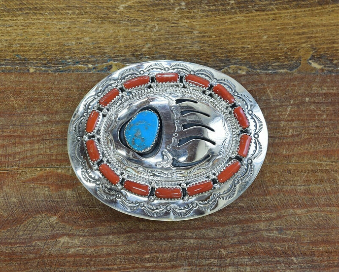 Navajo Turquoise and Coral Bear Paw Shadowbox Belt Buckle by Wilbur Musket