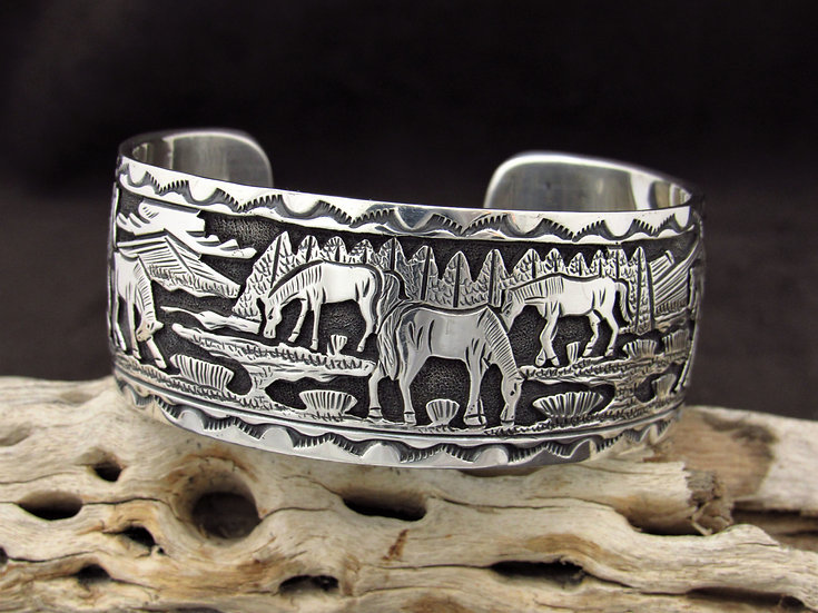 Navajo Sterling Silver Horse Overlay Cuff Bracelet by June Defauto