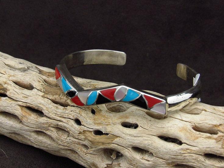 Jagged Sterling Silver Inlay Cuff Bracelet