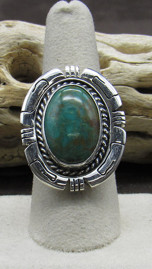 Stunning Turquoise and Sterling Silver Large Ring Size 8 3/4