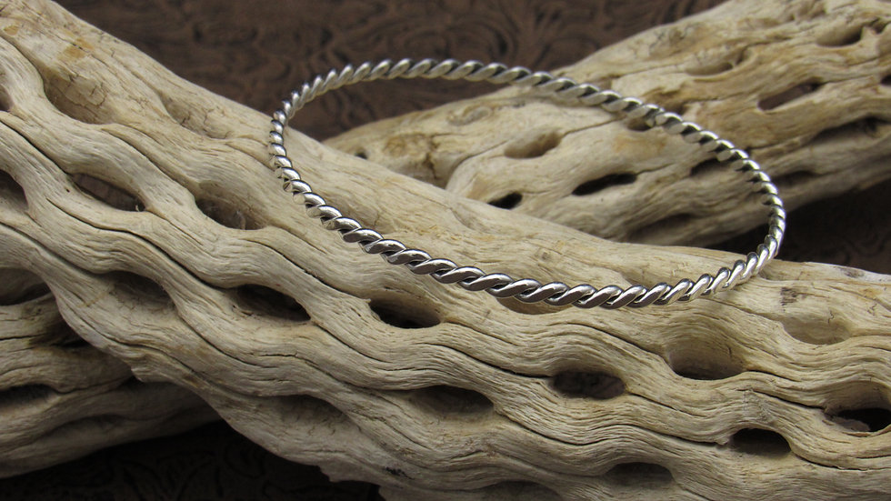 Twist Braided Sterling Silver Bangle Bracelet