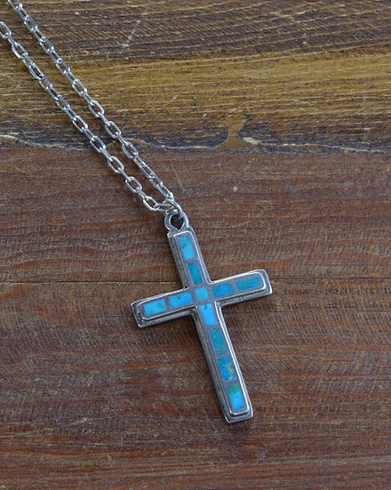Sterling Silver and Turquoise Inlay Cross Necklace
