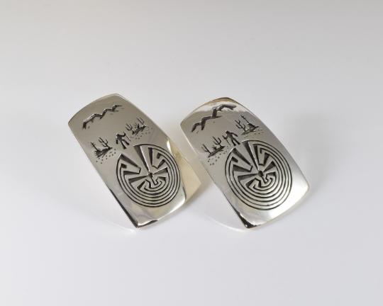 Man in the Maze Desert Scene Sterling Silver Overlay Earrings by Rick Manuel