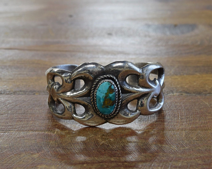 Vintage Navajo Sandcast Sterling Silver and Turquoise Cuff Bracelet