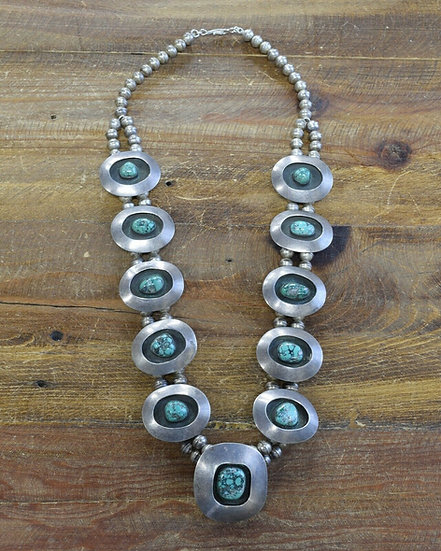 Vintage Shadowbox Turquoise Sterling Silver Beaded Necklace