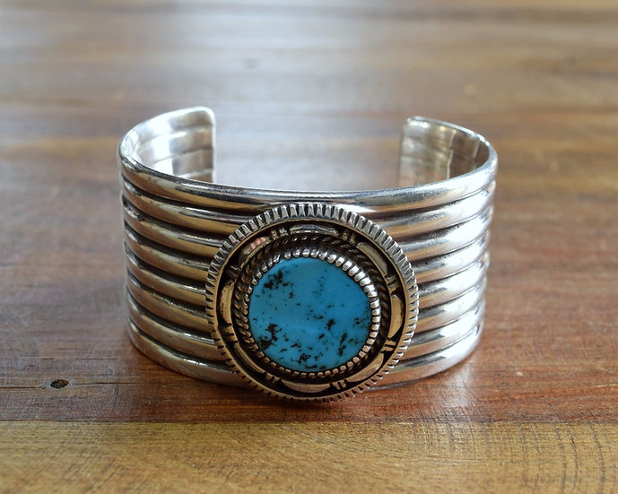 Sterling Silver and Turquoise Southwest Cuff Bracelet