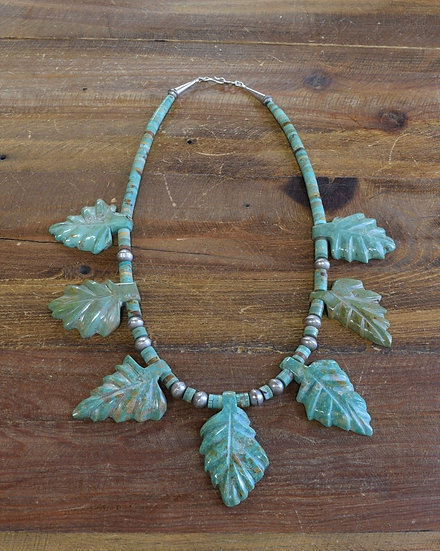Navajo Green Turquoise and Sterling Silver Disc Bead Necklace
