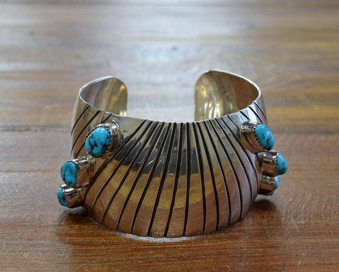 Vintage Wide Sterling Silver Turquoise Bracelet
