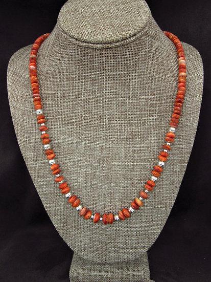 Southwestern Orange Spiny Oyster Beaded Necklace