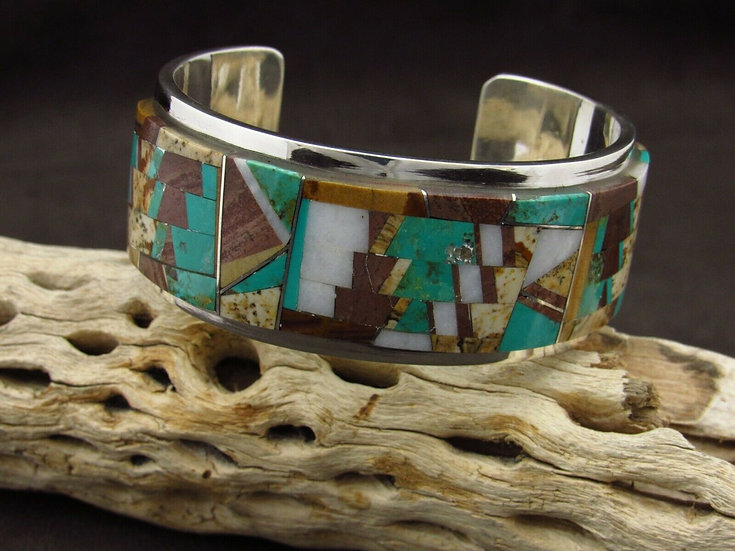 Sterling Silver Multi Stone Inlay Cuff Bracelet