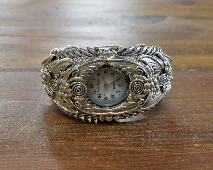 Heavy Vintage Sterling Silver Floral Watch Cuff