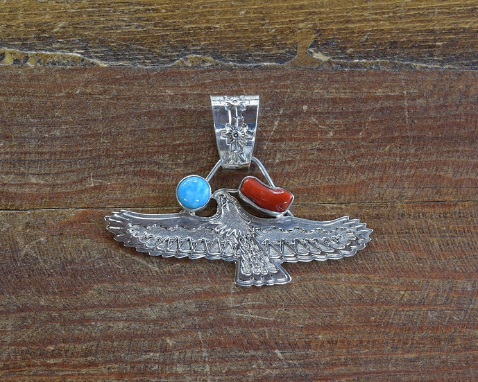 Navajo Sterling Silver, Coral and Turquoise Eagle Pendant