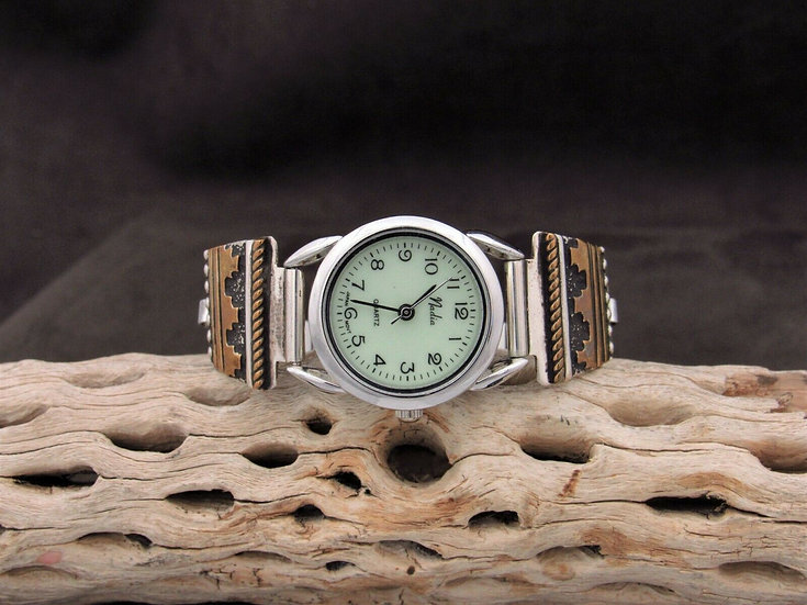 Sterling Silver and Gold Filled Watch Band by Tommy Singer