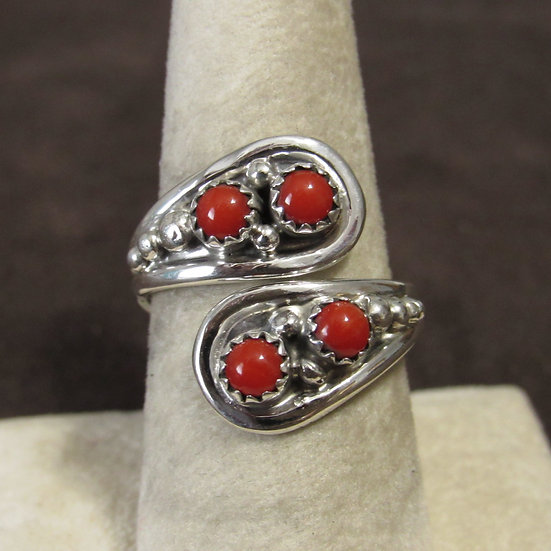 Southwest Sterling Silver and Coral Adjustable Ring