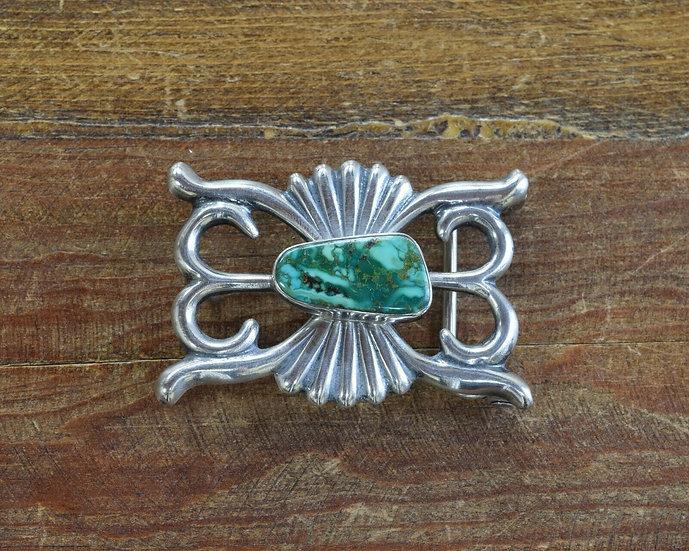 Vintage Sterling Silver Green Turquoise Sand Cast Belt Buckle