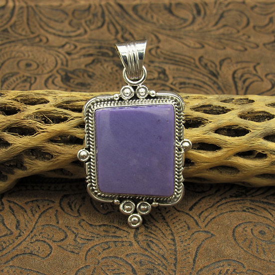 Navajo Sterling Silver Purple Stone Pendant by Running Bear Workshop