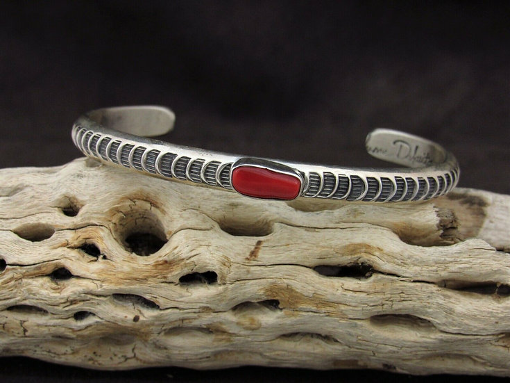 Navajo Sterling Silver Coral Stamped Cuff Bracelet By June Defauito