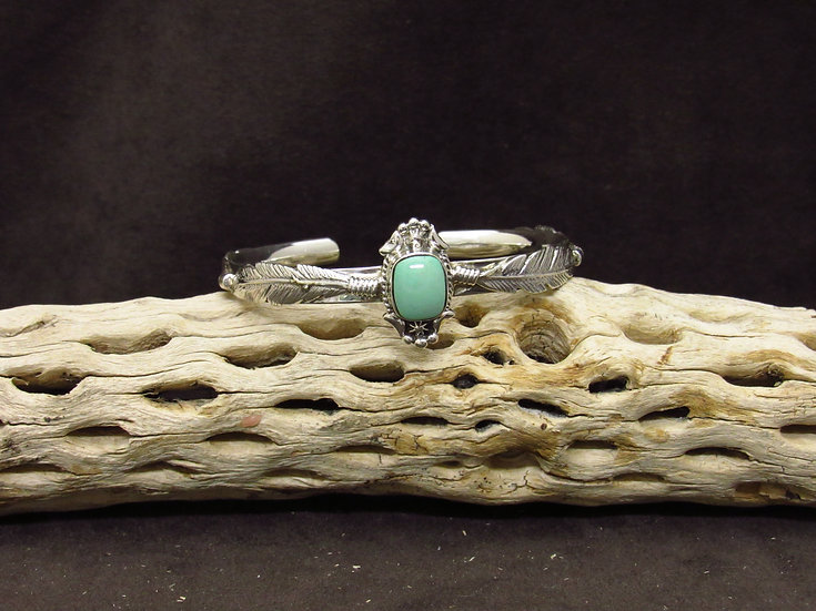 Sterling Silver Green Turquoise Feather Cuff Bracelet