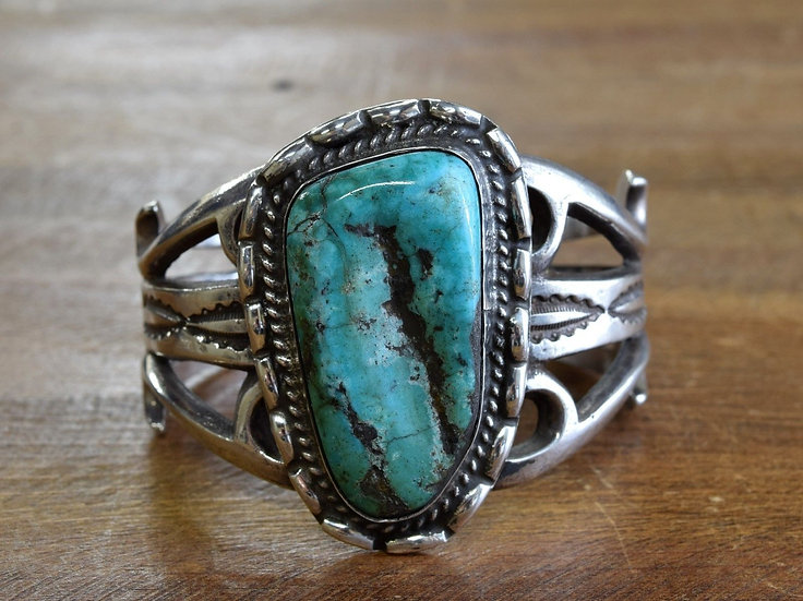 Vintage Southwest Sterling Silver Turquoise Sand Cast Cuff Bracelet