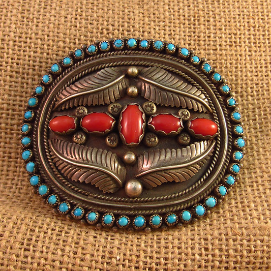 Navajo Coral and Turquoise Vintage Silver Belt Buckle