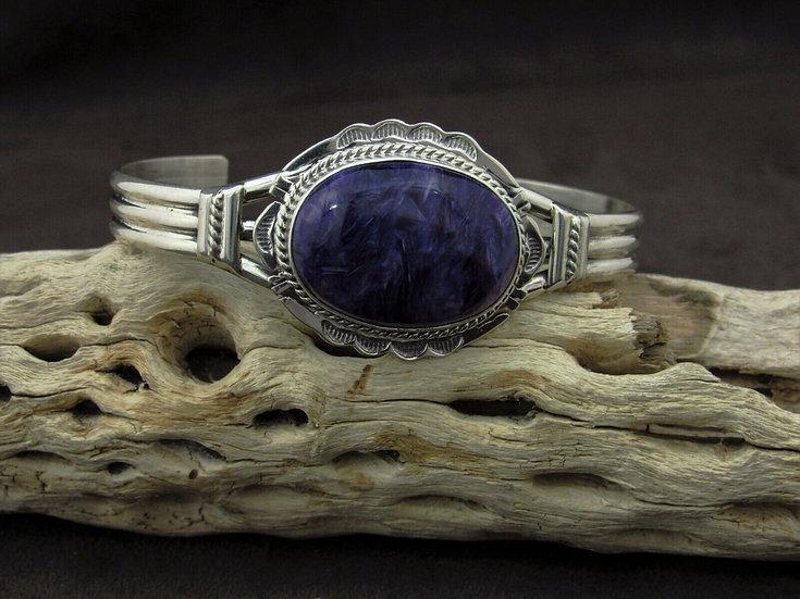 Navajo Charoite Sterling Silver Cuff Bracelet by John Nelson
