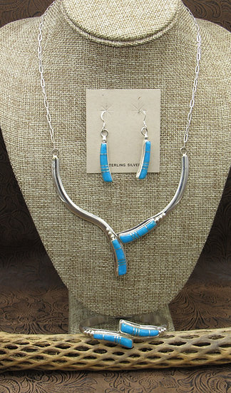 Navajo Sterling Silver and Turquoise Inlay Set by Harry Spencer