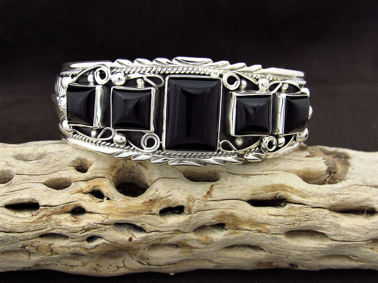 Navajo Sterling Silver Multi Stone Onyx Cuff Bracelet by Davey Morgan