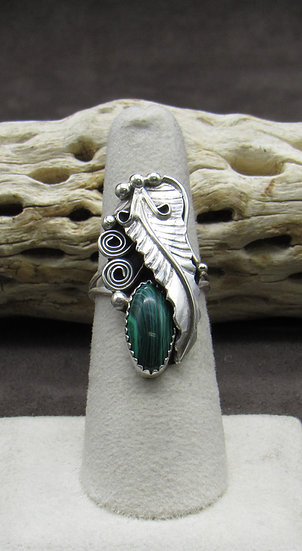 Malachite Sterling Silver Leaf Scroll Ring Size 6 3/4