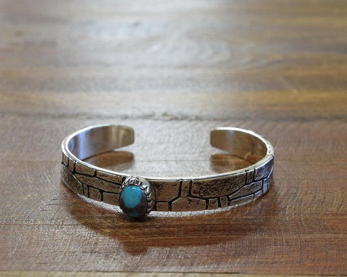 Sterling Silver Turquoise Cobblestone Cuff Bracelet