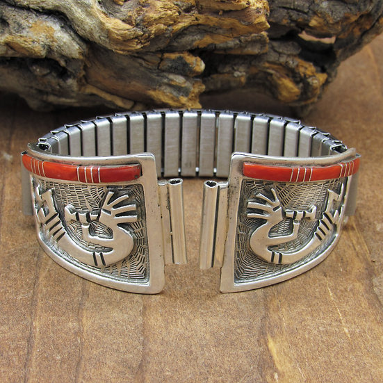 Southwest Sterling Silver Kokopelli Men's Watch Band  with Inlaid Coral