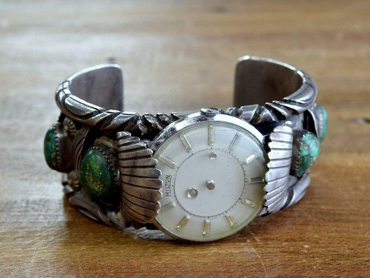 Vintage Navajo Sterling Silver Turquoise Watch Cuff Bracelet