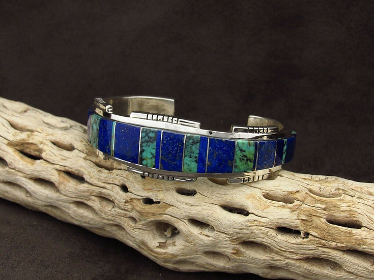 Sterling Silver Lapis and Turquoise Cuff Bracelet