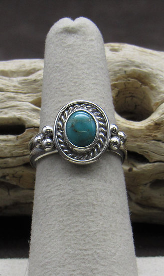 Turquoise and Sterling Silver Ring Size 6 3/4